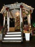 Het Vierkant van de Brecksvillestad bij dageraad met Kerstmisdecoratie - OHIO Royalty-vrije Stock Foto