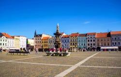 Het vierkant van de Centalstad van Ceske Budejovice, Tsjechische republiek stock foto