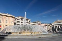 Het vierkant van DE Ferrari in Genua, Italië Stock Foto's