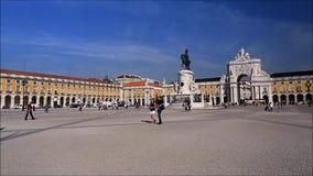 Het Vierkant van de handel in Lissabon stock videobeelden