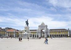 Het vierkant van de handel in Lissabon, Portugal Stock Fotografie