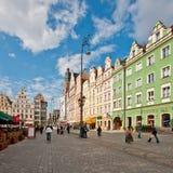 Het Vierkant van de markt - hoofdvierkant in Wroclaw, Polen Stock Fotografie