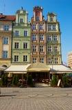 Het vierkant van de markt in oude stad van Wroclaw stock afbeeldingen