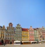 Het vierkant van de markt in oude stad van Wroclaw stock foto's