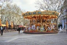 Het Vierkant van de Markt van Avignon van de carrousel Stock Foto's