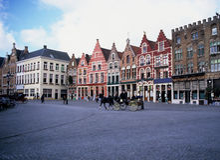 Het Vierkant van de Markt van Brugge stock foto