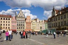 Het vierkant van de Markt in Wroclaw, Polen Stock Afbeeldingen