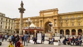 Het Vierkant van de republiek in Florence stock afbeelding