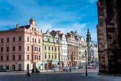 Het Vierkant van de republiek in Plzen, Tsjechische Republiek royalty-vrije stock foto