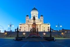 Het Vierkant van de senaat bij nacht in Helsinki, Finland royalty-vrije stock foto's