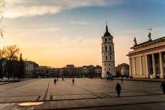 Het Vierkant van de Vilniuskathedraal met zonsondergang stock afbeelding