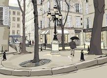 Het vierkant van Furstemberg in Parijs stock illustratie