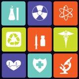 Het vierkant van geneeskundepictogrammen Stock Afbeelding