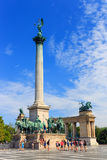 Het Vierkant van helden in Boedapest op 25 Juli, 2014 Royalty-vrije Stock Afbeeldingen