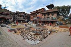 Het vierkant van het Bhaktapuraardewerk. Katmandu, Nepal Royalty-vrije Stock Foto