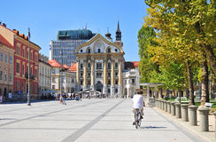 Het vierkant van het congres, Ljubljana, Slovenië Stock Afbeeldingen