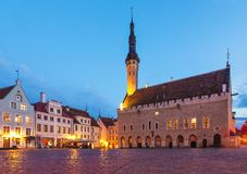 Het Vierkant van het Stadhuis in Tallinn, Estland royalty-vrije stock afbeelding