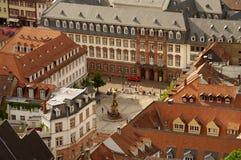 Het vierkant van Kornmarkt, Heidelberg, Duitsland Royalty-vrije Stock Afbeelding