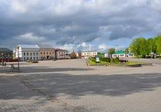 Het Vierkant van Lenin in de stad van Novogrudok wit-rusland Royalty-vrije Stock Foto's