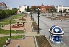 Het Vierkant van Lenin in Khabarovsk Rusland royalty-vrije stock afbeeldingen