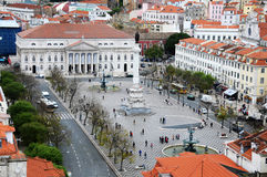 Het Vierkant van Lissabon Rossio Stock Afbeeldingen