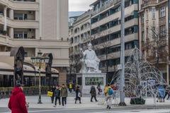 Het Vierkant van Macedonië, Skopje stock foto