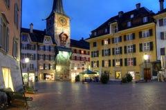 Het vierkant van Marktplaz, Solothurn, Zwitserland stock afbeelding