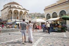 Het Vierkant van Monastiraki in Athene, Griekenland Royalty-vrije Stock Afbeeldingen