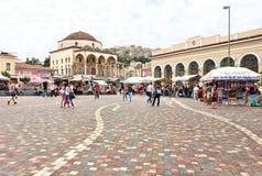 Het Vierkant van Monastiraki in Athene, Griekenland Royalty-vrije Stock Afbeelding
