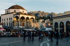 Het Vierkant van Monastiraki in Athene, Griekenland royalty-vrije stock fotografie