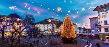 Het vierkant van Preseren, Ljubljana, Slovenië, Europa. Royalty-vrije Stock Afbeelding