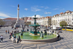 Het Vierkant van Rossio het hart van Lissabon Royalty-vrije Stock Foto
