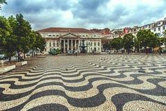 Het vierkant van Rossio in Lissabon stock afbeeldingen