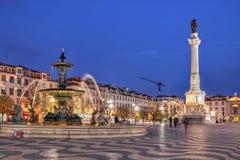 Het Vierkant van Rossio, Lissabon, Portugal Royalty-vrije Stock Afbeeldingen