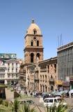 Het vierkant van San Francisco Cathedral in La Paz Stock Foto's