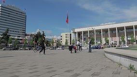 Het Vierkant van Tirana Skanderbeg stock videobeelden