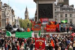Het Vierkant van Trafalgar, 1 Mei 2010, Londen Stock Fotografie