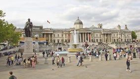 Het Vierkant van Trafalgar en het National Gallery Stock Afbeeldingen