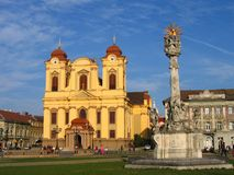 Het Vierkant van Unirii - Timisoara, Roemenië stock afbeeldingen