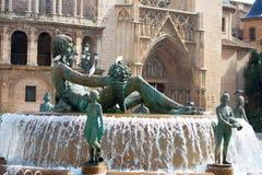 Het vierkant van Valencia Plaza DE La virgen met Neptuno-fontein Royalty-vrije Stock Fotografie