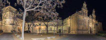 Het Vierkant van Vazquez Molina bij nacht, Ubeda, Spanje stock afbeeldingen