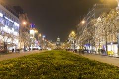 2014 - Het vierkant van Wenceslas bij de winter, Praag Royalty-vrije Stock Foto's