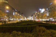 2014 - Het vierkant van Wenceslas in de winter, Praag Royalty-vrije Stock Foto's