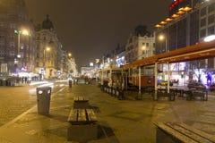 2014 - Het vierkant van Wenceslas in de winter, Praag Royalty-vrije Stock Afbeelding