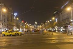 2014 - Het vierkant van Wenceslas in de winter, Praag Stock Afbeelding