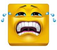 Het vierkante emoticon schreeuwen vector illustratie