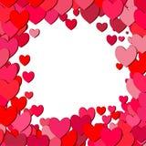Het vierkante kader van de valentijnskaartendag met verspreide harten Stock Afbeelding