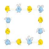 Het vierkante kader van Pasen met grappige konijntjes en kuikens Royalty-vrije Stock Afbeelding