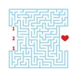 Het vierkante labyrint van de kleur Spel voor jonge geitjes Raadsel voor kinderen Vind de juiste weg aan het hart Labyrintraadsel stock illustratie