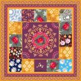 Het vierkante lapwerkpatroon met mandala, nam, madeliefje, kosmosbloemen en de grens van Paisley in vector toe Etnische motieven  vector illustratie